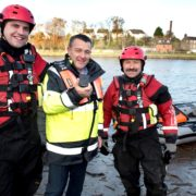 LtoR: Jason Clarke, PRO, Boyne Fishermen's Rescue & Recovery, Mark Quinn, managing director, EMR Integrated Solutions and Eugene Brannigan, volunteer, Boyne Fishermen's Rescue & Recovery