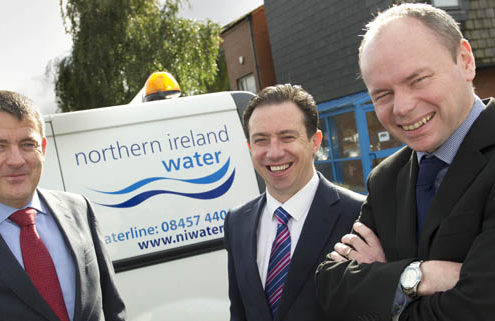 Pic l-r: Mark Quinn, managing director, EMR Integrated Solutions, Derek Glynn, COO, EMR Integrated Solutions and Pearse Bradley, telemetry and SCADA manager, Northern Ireland Water on the award of a €1m/£700,000 contract to upgrade Northern Ireland Water's telemetry network. No fees for reproduction. Pic by Maura Hickey - tel: 086-8541130