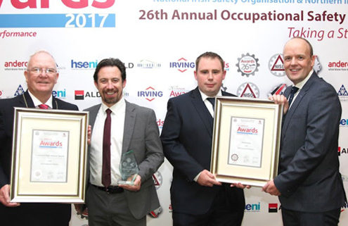 EMR takes high achiever award at NISO 2017. Pictured l-r: Harry Galvin, president of NISO, Derek Glynn, COO, EMR, Colm Farrell, safety representative, EMR and John Thompson, incoming NISG chair