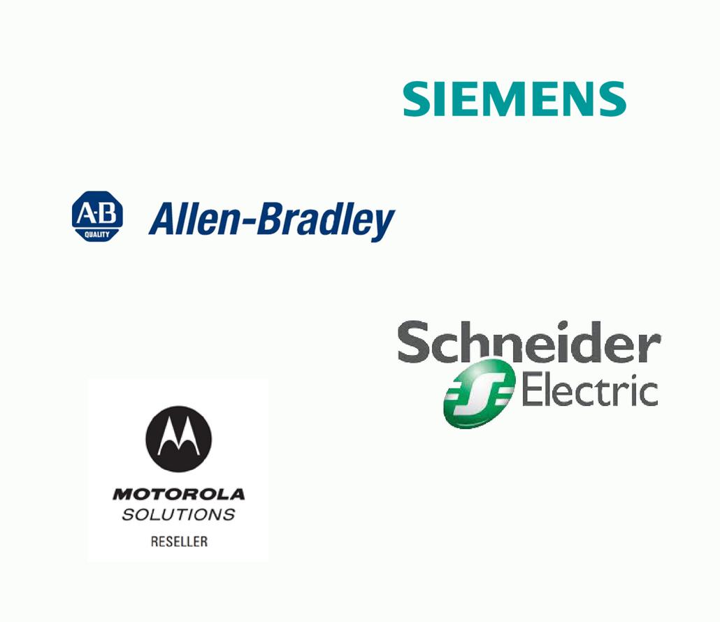 We're proud to work with Allen Bradley, Siemens, Schneider Electric and Motorola
