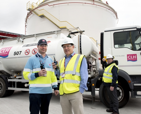 AIRSIDE SAFETY: Pic l-r: Rioch Farrelly, Operations and Quality Engineer, CLH Aviation Ireland, Mark Quinn, Managing Director, EMR and Dean Reardon, Account Manager, EMR